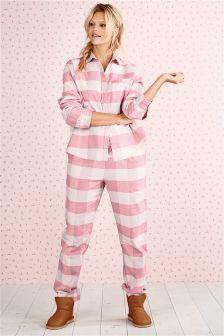 Gingham Button Flannel Pyjamas