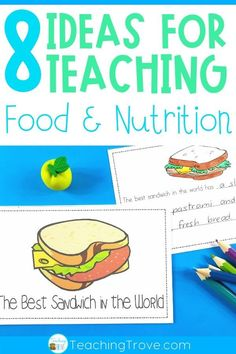 Teaching a food and nutrition unit to your kindergarten or first grade kids? This blog post has lots of ideas for teaching healthy eating including lessons on food groups, my healthy plate and fun literacy centers. #foodandnutrition #foodandnutritionactivities