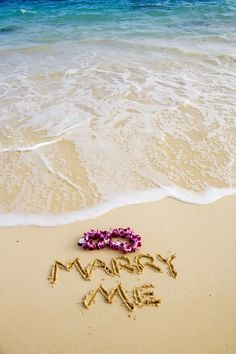 Beach proposal... With a lei!