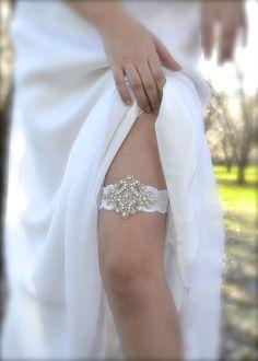 Vintage Garter Crystal Beaded Bridal Garter by GracefullyGirly