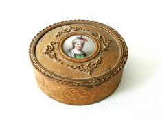Antique Gilt Brass Trinket Jewelry Boxwith Painted Porcelain Cameo Portrait Painting.