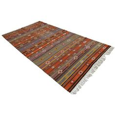 Turkish Kilim Rug Hand Woven Area Rug Jajim - 4′11″ X 9′5″ ($490) ❤ liked on Polyvore featuring home, rugs, traditional handmade rugs, hand-loomed rug, handmade turkish rugs, hand woven turkish rugs, handwoven rug and turkish area rugs