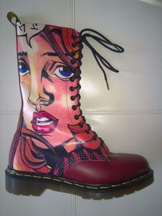 5471244ee7 DOC DR MARTENS MANGA ANIME GIRL FACE BOOTS RARE NEW VINTAGE MADE IN ENGLAND  6UK