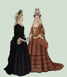 """1700 by Tadarida.deviantart.com on @deviantART - From the artist's comments: """"Fashion from the early 1700s. Ladies wear mantuas and fontanges like in the previous decades. Black is very fashionable because of Madame Maintenon's influence."""""""