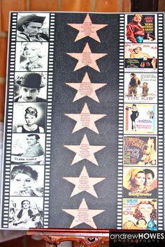 Clever classic film Hollywood themed wedding reception seating chart.