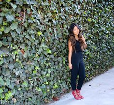 Finding the perfect jumpsuit for your body! Black jumpsuit paired with red lace up heels for todays out of the day.