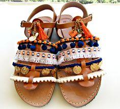 Pompom gladiator sandals Boho sandals Blue and by dadahandmade
