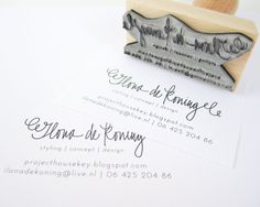 """Business Card Stamp - Custom 2 3/4"""" Business Card or Etsy Shop Stamp for business cards and shop packaging. $45.00, via Etsy."""
