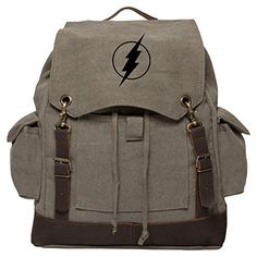 Flash Comic Superhero Vintage Rucksack Backpack with Leather Straps Olive  Bk >>> Check out this great product. (This is an affiliate link) #TravelCasualDaypackBackpacks