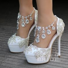 Crystal Queen New Fashion Rhinestone Sandals Pumps Shoes Women Sweet Luxury Platform Wedges Shoes Wedding heels High Heels - Lady Shop - Store for the woman Wedding High Heels, Wedge Wedding Shoes, Bridal Shoes, Sandals Wedding, Platform Wedding Shoes, Wedding Wedges, Fancy Shoes, Pretty Shoes, Me Too Shoes