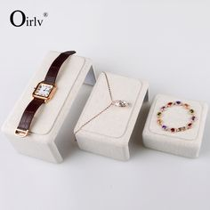 Oirlv free shipping all matched creamy white color linen jewelry display stand for watch ring pendant bracelet holder expositor