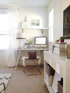 adorable design home cabinet in workplace with computer desk corner beside white…