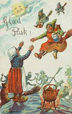 """Swedish """"Easter Witches"""" arrive for a festivity. The one in front is extra-welcome because she brought the COFFEE! Easter Traditions, Swedish Traditions, Halloween Cards, Vintage Halloween, Halloween Eve, Traditional Witchcraft, Baumgarten, Hedge Witch, Vernal Equinox"""