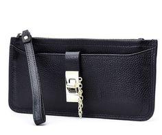 Praktische zwarte leren portemonnee mini clutch tas.