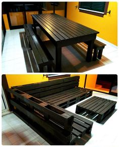 Pallet Dining Set & Sofa Set - 15 Top Pallet Projects You can Build at Home - Ea., Pallet Dining Set & Sofa Set - 15 Top Pallet Projects You can Build at Home - Ea. Pallet Ideas Easy, Diy Pallet Projects, Home Projects, Woodworking Projects, Wood Ideas, Diy Ideas, Pallet Crafts, Unique Home Decor, Home Decor Items