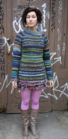 Handmade striped wool sweater