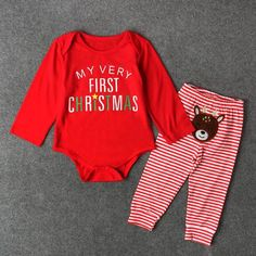 81c33b0f8790 My first Christmas Baby romper set - Long sleeve Tops   Stripe Pants Set