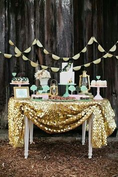 Sparkly Gold Sequins Table Linen for Dessert Table! (WFL Paillette Gold Table Linen Overlay) - With Beau & Arrow Events & The Sweet Society Table D'or, Gold Table, Cake Table, Wedding Desserts, Wedding Cakes, Wedding Decorations, Gold Decorations, Pink Desserts, Wedding Cake Display
