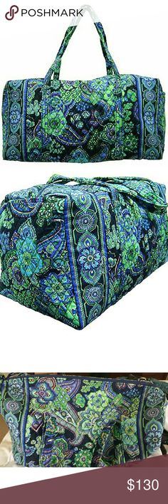 """RARE Vera Bradley Large Blue Rhapsody Duffle XL Comes from a smoke free home. No damage, no stains.Features cotton Dimensions 22"""" W x 11½"""" H x 11½"""" D - 15"""" strap drop Handy outside end pocket Larger size but still meets airline carry-on regulations Great for sweaters and out of season clothes Folds flat for easy storing   Carry-on compliant bag with a deep end pocket. It has two straps with a drop length of 15"""" Vera Bradley Bags Travel Bags"""
