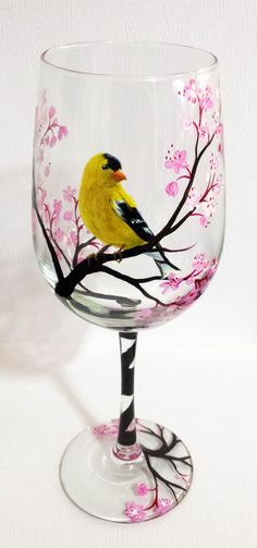 Yellow Finch Bird Hand Painted Wine Glass Pink Cherry Blossom