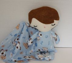 Baby Boy Doll brown hair Blue puppy dog print pjs by FrogBlossoms, $15.00
