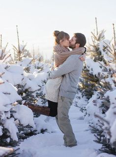 Snow and Sequins Engagement Shot