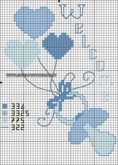 lo spazio di lilla: Punto croce per neonati, schemi gratuiti / Newborn cross stitch, free charts Baby Cross Stitch Patterns, Cross Stitch For Kids, Cross Stitch Baby, Cross Stitch Designs, Baby Patterns, Cross Stitching, Cross Stitch Embroidery, Embroidery Patterns, Hand Embroidery