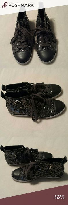 Gray Guess Sequin Sneakers size 6M These gray sequin G by Guess Sneakers are in excellent condition, they have a side zipper, faux leather accents on the tongue and toe, buckle detail on the side, hardly worn. These are the GGMAREE2. Authentic Guess. Guess Shoes Athletic Shoes