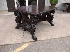 Antique and Vintage Furniture For Sale - Walnut Victorian Library Table - Standing Winged Griffins Victorian Library, Victorian Homes, Office Furniture, Wood Furniture, World Office, Vintage Furniture For Sale, Library Table, Dining Chairs, Dining Table