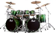 Pearl Custom Drum Kit. Ooh, aah, One of these days we will upgrade him to an awesome kit.