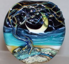 WSTGA~WIND SWEPT TREE~SEA BEACH MOON handmade lampwork focal glass bead SRA  By Molly Cooley