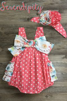 Serendipity Dottie Bubble for Infants in Coral Ruffles PREORDER