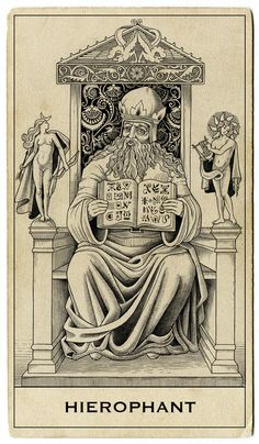 The origins of the Tarot are surrounded with myth and lore. The Tarot has been thought to come from places like India, Egypt, China and Morocco. Others say the Tarot was brought to us fr Hopeless Fountain Kingdom, The Hierophant, Esoteric Art, Tarot Major Arcana, Occult Art, Tarot Readers, Book Of Shadows, Tarot Decks, Mystery