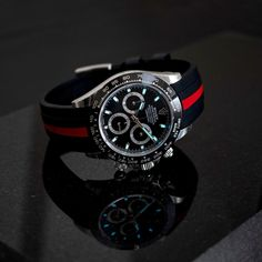 #fridaynightlume with the Rolex Ceramic Daytona on one of our Everest Curved End Bi-Color Straps which are back in stock now!! . Who else loves this combo? . To get this look, head over to www.everestbands.com (link in bio) Rolex Daytona, Ceramics, Color, Accessories, Vintage, Instagram, Products, Clock Art, Lush