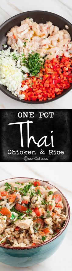 One Pot Thai Chicken and Rice. Easy, fast, and family-friendly. Healthy and tastes fantastic! #dinner #recipe #asian