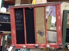 Reclaimed Old Window - Shabby Chic Coral Frame - Chalkboard - Burlap Cork Board - Chicken Wire - Farmhouse Chic Bulletin Board - Rustic