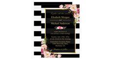 Modern Vintage Pink Floral Stripes Formal Wedding Card Vintage Wedding Invitations