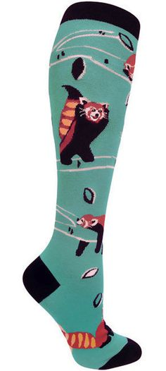 """These cuties are also known as the """"firefox""""! Minty teal colored knee high socks with romping and sleeping red pandas. Fits women's US shoe size 6-10."""