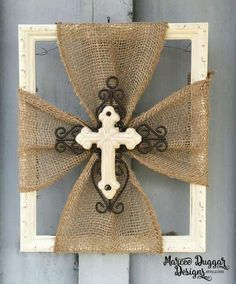 Ceramic Cross Burlap Trim Wood Frame Home Decor Rustic Religious White Cross Faith by MarceeDuggarDesigns on Etsy Wood Home Decor, Rustic Decor, Diy Home Decor, Rustic Wood, Rustic Art, Rustic Signs, Diy Wood, Wood Signs, Wall Decor