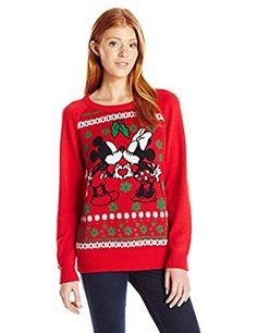 Amazon.com: Disney Women's Mickey Minnie Heart Hands Christmas Sweater: Clothing