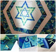 Handmade unique blue and white quilted chuppah covering found on Modern Jewish Wedding Blog // Photographer: Donna Von Bruening