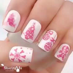 Nail designs or nail art is a very simple concept - designs or art that is used to decorate the finger or toe nails. They are used predominately to en Pink Nail Art, White Nail Art, New Nail Art, Cool Nail Art, Holiday Nail Designs, Classy Nail Designs, Pink Nail Designs, Nails Design, Xmas Nails