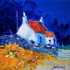 """""""Wee Croft in the Knapdale Wood-Argyll"""" John Lowrie Morrison Landscape Artwork, Watercolor Landscape, Shorts Tutorial, Acrylic Painting For Beginners, Cottage Art, Sketch Painting, Moon Art, Art Oil, Art Pictures"""