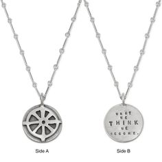 WHAT WE THINK BUDDHIST NECKLACE | Jewelry, pendant, Buddhism, wheel of Dharma, silver, Kathy Bransfield | UncommonGoods