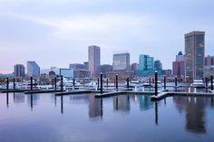 Skyline and Inner Harbor, Baltimore, Maryland, Usa
