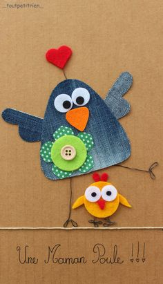 Une maman poule jeans recycle www toutpetitrien ch fleurysylvie Jean Crafts, Denim Crafts, Diy And Crafts, Crafts For Kids, Artisanats Denim, Denim Art, Sewing Crafts, Sewing Projects, Craft Projects