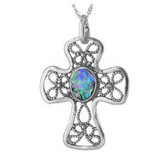 Sterling & Roman Glass Cross Necklace $56.95
