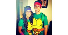 Kick butt with this awesome costume. What you need to do: For the guys, buy a Teenage Mutant Ninja Turtle shirt and red headband. For the girls, buy the same tee and purple headband.  Source: Instagram user its_sami_t