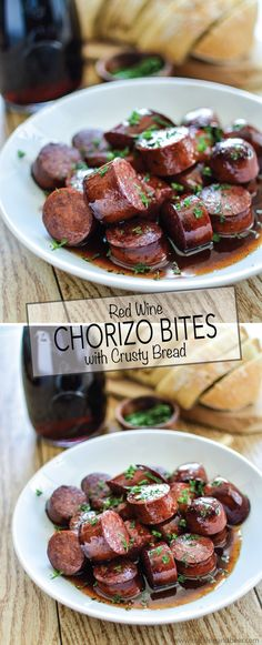 Red Wine Chorizo Bites with Crusty Bread is the perfect appetizer recipe to serve this summer!