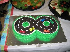 Figure 8 race track  one chocolate and one vanilla cake buttercream frosting